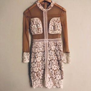 Angel Biba LF Nude White Lace Midi Dress